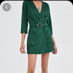 Zara faux suede green jumpsuit, size XS